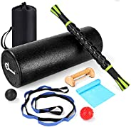 Odoland 8-In-1 Large size Foam Roller Kit with Muscle Roller Stick, Massage Balls, Stretching Strap, Resistanc