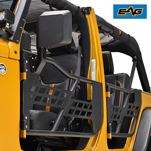 EAG Safari Tubular Doors with Mirror Fit for 07-18 Jeep Wrangler JK 4 Door ()