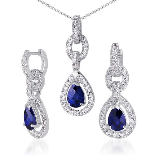 Created Sapphire Pendant Earrings Necklace Set Sterling Silver Tear Drop by Peora