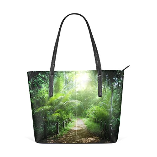 COOSUN Camino en la selva de Seychelles Islas PU de cuero bolso monedero y bolsos de la bolsa de asas para las mujeres Medio muticolour