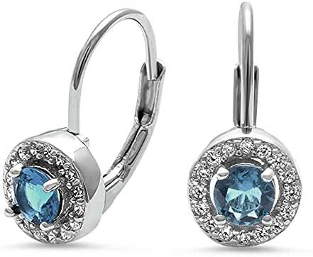 Halo Simulated Aquamarine & Cz .925 Sterling Silver Earrings