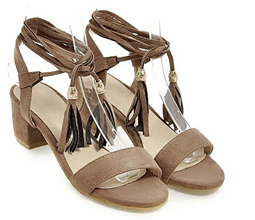 WeiPoot Heels Toe Brown Women's Solid Sandals Lace EGHLH004736 Open up Kitten 6wSFUq6