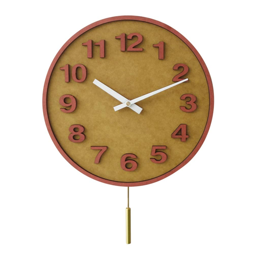 FJKAHGA Lovely Design Wooden Quartz Analog Round Wall Clock with Cute Dial, 30CM Yellow