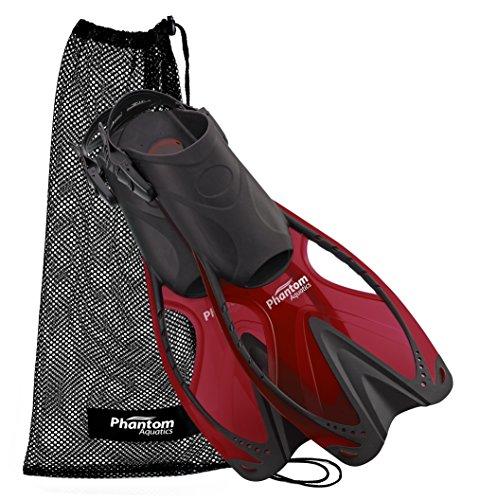 Phantom Aquatics Speed Sport Adjustable Snorkeling Fin  Red  Small Medium  Size 4 5 To 8 5