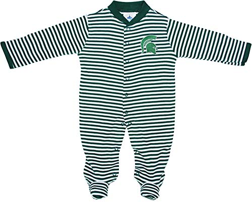 Michigan State University Spartans Striped Footed Baby Romper Green/White