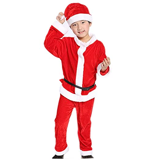 f195f66ca91d Amazon.com  FACOCO Boy Girl Cosplay Santa Claus Clothes Christmas ...