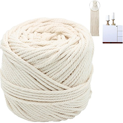 Macrame Cord 4mm X 100m(109 yd) 4 PLY Natural Virgin Cotton Natural Color Macrame Wall Hanging Plant Hanger Macrame Swing Chair Boho Dream Catcher DIY Craft Making Knitting Rope 3mm 4mm 5mm (4mm) -