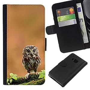 eJoy---La carpeta del tirón la caja de cuero de alta calidad de la PU Caso protector - HTC One M9 - --The Curious Cute Owl