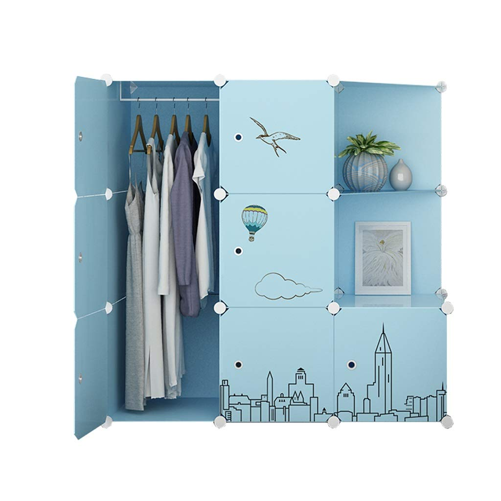 Blue Hanging Wardrobe Clothes Storage Box, Modern Portable Wardrobe, Simple Assembly DIY Wardrobe, Storage Space Saving - L111cm × W47cm × H111cm by Ace zhyg