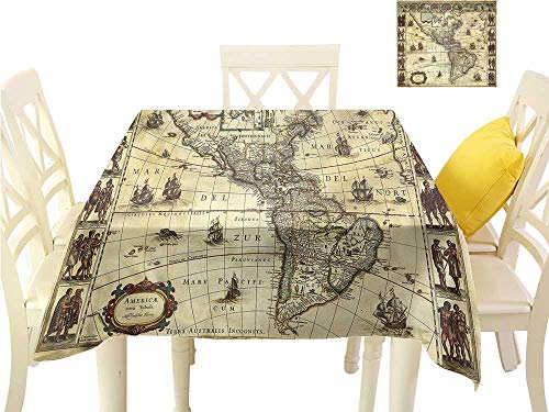 (WilliamsDecor Table Cloth Cover Wanderlust,Middle Ages Vintage Map Table Cover W 54
