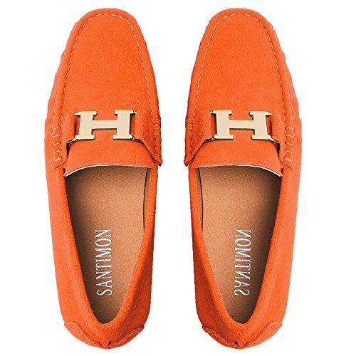 Gold Buckle Leather Slip-on Loafer Driving Car Shoes Moccasin Shoes Orange 11 D(M) US ()