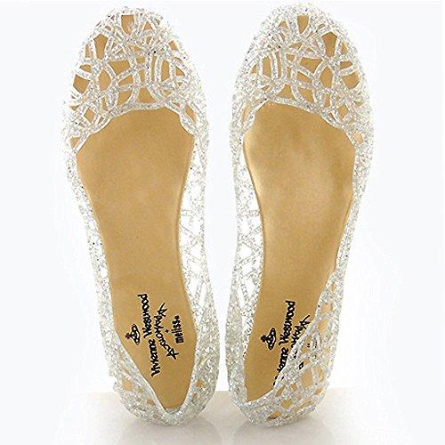 Upper Bird Jelly Minetom Binding Crystal Powder Nest Flat Heel Shimmering Shoes Sliver Women TxwqfYvnqE