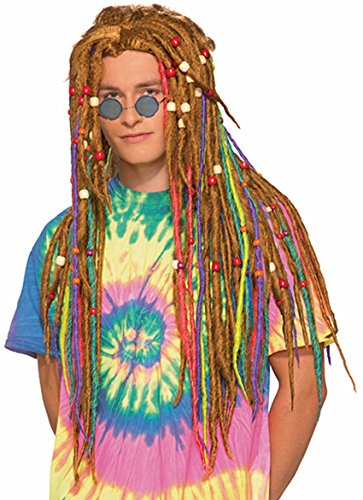 Forum Men's Generation Hippie Rainbow Dreads Wig, Multi, One Size
