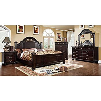 Syracuse Transitional Dark Walnut Finish Eastern King Size 6 Piece Bedroom  Set. Amazon com  Syracuse Transitional Dark Walnut Finish Eastern King