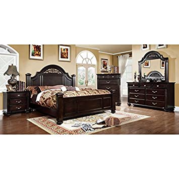 Syracuse Transitional Dark Walnut Finish Queen Size 6 Piece Bedroom Set