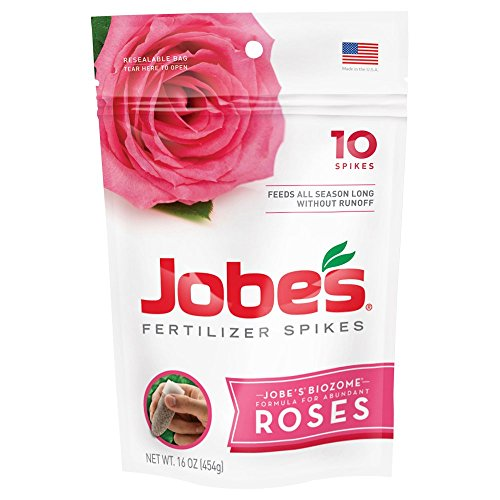 Jobe's Rose Fertilizer Spikes 9-12-9 Time Release Fertilizer for All Flowering Shrubs, 10 Spikes per Package (Jobes Fertilizer Spikes)