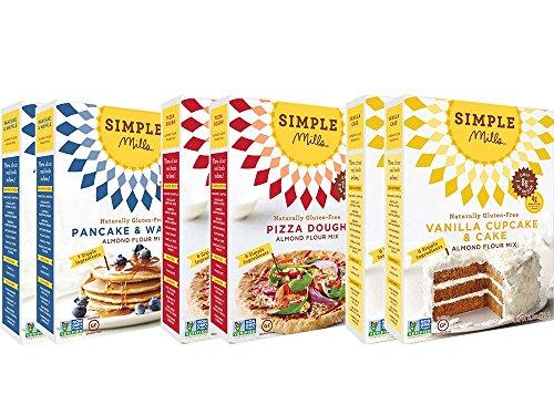 Simple Mills Almond Flour Mix Variety Pack, Pancake & Waffle, Pizza, Vanilla Cake, 10.4 oz, 6 count (Best Coconut Flour Cake)