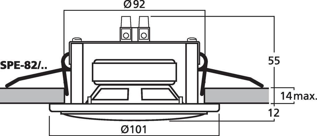 6 W 4 Ohm silber MONACOR SPE-82//CR Einbau-Kleinlautsprecher