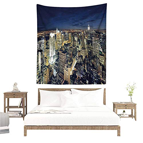 alisoso Wall Tapestries Hippie,Urban,Modern Cityscape After Sunset Manhattan New York USA Architectural View,Yellow Tan Dark Blue W51 x L60 inch Tapestry Wallpaper Home Decor