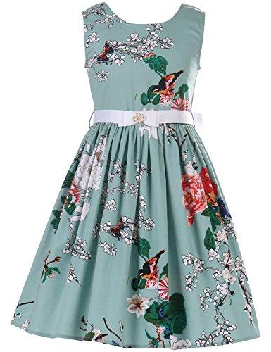 PrinceSasa Elegant Girls Dresses Sunny Fashion Cotton Floral