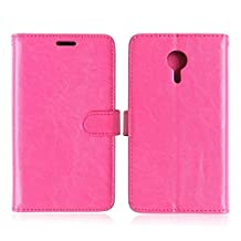 Meizu MX5 High Quality Synthetic PU Leather Case Solid Color Wallet Stand Case Silicone Cover for Meizu MX5 ( Color : Rose-Meizu MX5 )