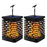 Solar Flame Lights Outdoor Hanging Lanterns Garden Decoration Light Landscape Lighting Solar Powered Umbrella Tree Pavilion Light for Patio Yard Pathway (2 Pack)