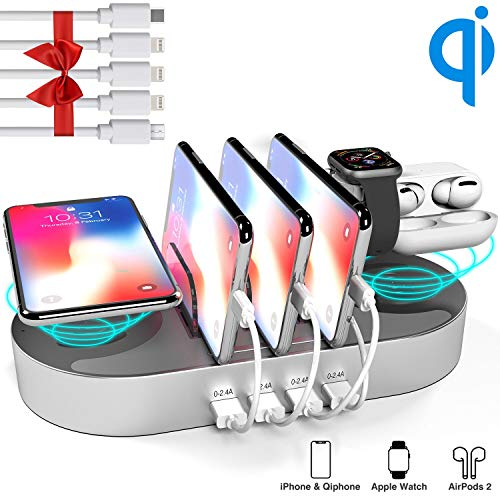 Charging Station for Multiple Devices, DGStore 2 QI Wireless Charging Pad 4 Port USB Charger Station Dock, Compatible with iPhone iPad Android Smart Phone Tablet Multi Device(Silver)