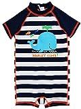Wippette Baby Boys Swimwear Navy Stripes Cute Whale 1-Piece Rashguard Swimsuit, Navy, 12 Months