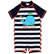 Wippette Baby Boys Swimwear Navy Stripes Cute Whale 1-Piece Rashguard Swimsuit, Navy, 6-9 Months