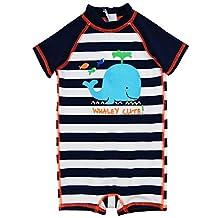 Wippette Baby Boys Swimwear Navy Stripes Cute Whale 1-Piece Rashguard Swimsuit, Navy, 24 Months