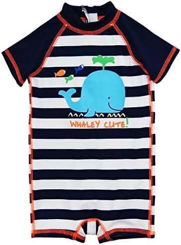 Wippette Baby Boys Swimwear Navy Stripes Cute Whale 1-Piece Rashguard Swimsuit