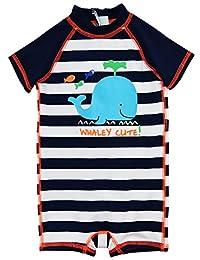 Wippette Baby Boys Swimwear Navy Stripes Cute Whale 1-Piece Rashguard Swimsuit, Navy, 0-6 Months
