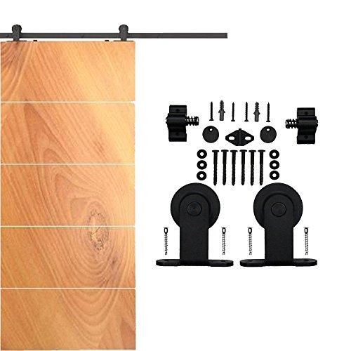 HomeDeco Hardware Black Classic Top Mounted 2 Rollers Wood Sliding Barn Door Hardware Flat Tracks Set (6.6FT Single Door Kit) (Dutch Door Kit compare prices)