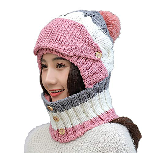 Clrarence Hat Adult Women Men Winter Earmuffs Knit Hat Mask Scarf Hairball Warm Cap