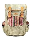 Mato Boho Hemp Backpack Hiking Travel Rucksack Laptop Baja Woven Aztec Pattern Bag Brown Suede Buckle
