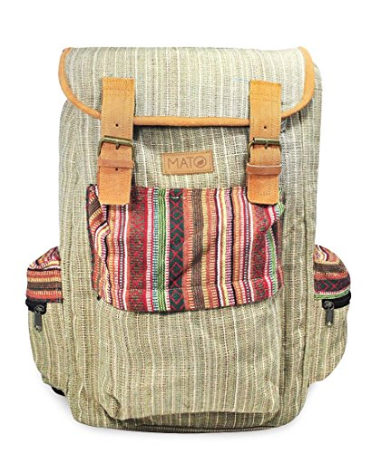 Mato Boho Hemp Backpack Hiking Travel Rucksack Laptop Baja Woven Aztec Pattern Bag Brown Suede Buckle