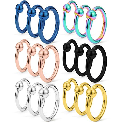 SCERRING 18PCS 12G Captive Bead Piercing Ring Stainless Steel Nose Septum Tragus Helix Nipple Belly PA Lip Eyebrow Hoop Rings 12mm 14mm 16mm Mix Color (Captive Bead Ring 12g)