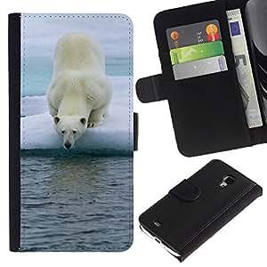 iBinBang / Flip Funda de Cuero Case Cover - Oso polar - Samsung Galaxy S4 Mini i9190 MINI VERSION!