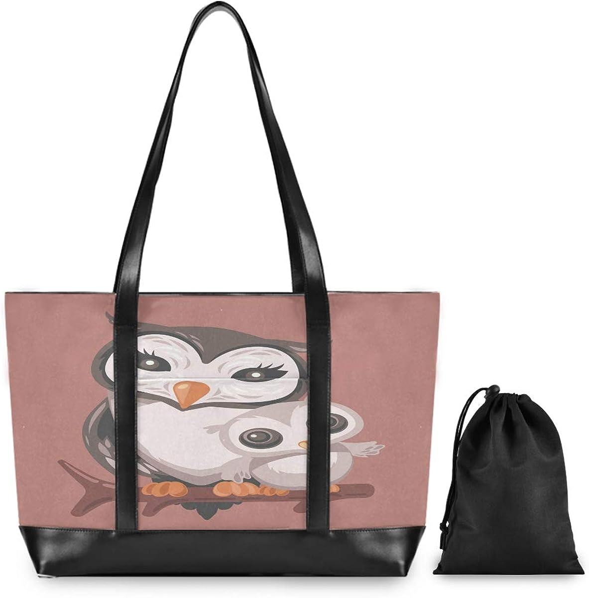 Mama Owl Hugging Child Laptop Bag for Women Canvas Messenger Bag Business Office School Computer Bag for 15.6 Inch Laptop /& Tablet Professional Large Capacity Briefcase Handbag Shoulder Bag