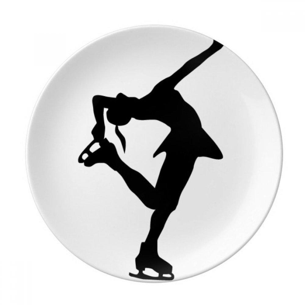 Silhouette Sport Female Dance Skating Dessert Plate Decorative Porcelain 8 inch Dinner Home