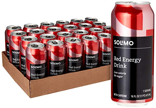 Amazon Brand - Solimo Red Energy Drink, Sugar Free, 16 Fluid Ounce (Pack of 24)