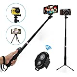 Tiitarn Selfie Pole, [Upgrated] 1/4'' Screw Extendable Selfie Pole with Detachable Tripod Stand & Wireless Remote for Gopro Camera/DSLR Camera/iPhone & Other Smartphones