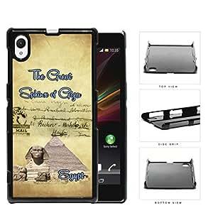 Egyptian Postcard Great Sphinx of Giza Hard Plastic Snap On Cell Phone Case Sony Xperia Z1 wangjiang maoyi