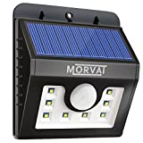 Upgraded Morvat Outdoor Solar Powered Motion Sensor Flood Light with 8 Super Bright LEDs | Waterproof, Wireless, Wide Angle Illumination - Security Lighting for Outdoor Areas: Driveway, Yard, Patio