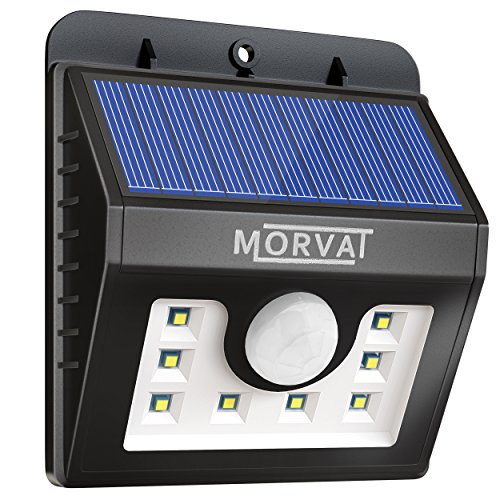 UPGRADED Morvat Outdoor Solar Powered Motion Sensor Flood Light with 8 Super Bright LEDs| Waterproof, Wireless, Wide Angle Illumination - Security Lighting for Outdoor Areas: Driveway, Yard, Patio