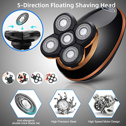 Glynee Electric Shaver Razor for Men Shaver Trimmer Grooming 5 in 1 Rotary Cordless Hair Clippers for Perfect Bald Look LED Display IPX7 Waterproof Quick USB Rechargeable (Gold)