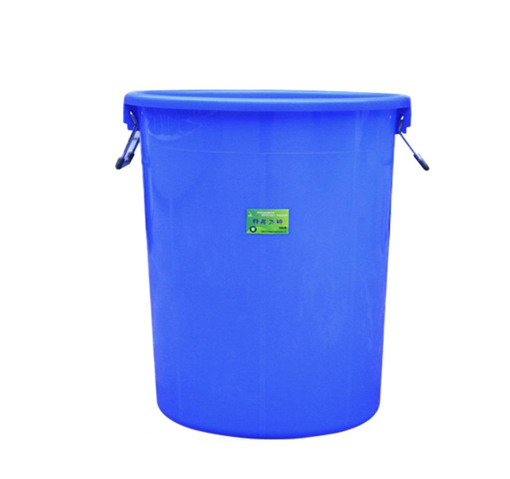 TGG 衛生ゴミ箱、大きなプラスチック円形ゴミ箱ホテルキッチン産業特性大容量覆われた厚い貯蔵バケツ100L 清潔できちんと (色 : 青) B07DKB6CZ6 11299 青 青