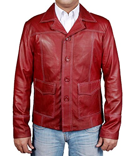 MSHC Men's Brad Pitt Fight Club Burgundy Sheep Leather Coat (XXS) (Brad Pitt Costume)