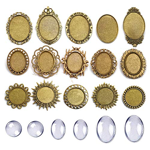DROLE 30Pcs Brooch Bezel Blanks Kit-15Pcs Antique Gold Pin Brooch Bezel Blanks with 15Pcs Clear Glass Dome Cabochon for Jewelry Making DIY Findings 3 Size