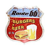 DL-New route66 Burgers and beer Vintage home decor Gas station Service poster garage signs for man cave